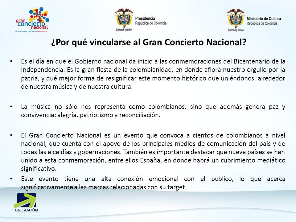 ¿Por qué vincularse al Gran Concierto Nacional? Es el día en que el Gobierno nacional da inicio a las conmemoraciones del Bicentenario de la Independe