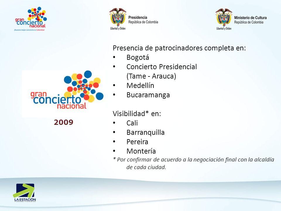 2009 Presencia de patrocinadores completa en: Bogotá Concierto Presidencial (Tame - Arauca) Medellín Bucaramanga Visibilidad* en: Cali Barranquilla Pereira Montería * Por confirmar de acuerdo a la negociación final con la alcaldía de cada ciudad.
