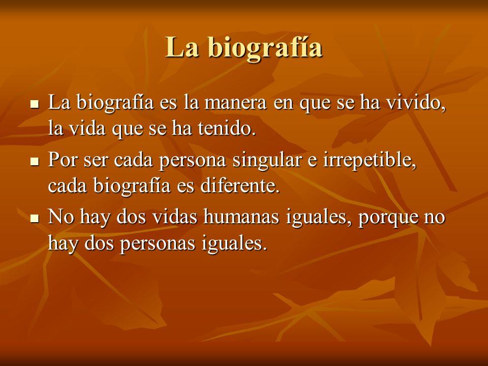 La biografía La biografía es la manera en que se ha vivido, la vida que se ha tenido.