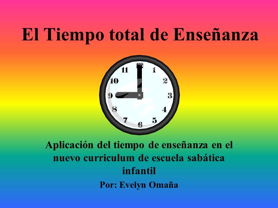 El Tiempo total de Enseñanza Aplicación del tiempo de enseñanza en el nuevo curriculum de escuela sabática infantil Por: Evelyn Omaña