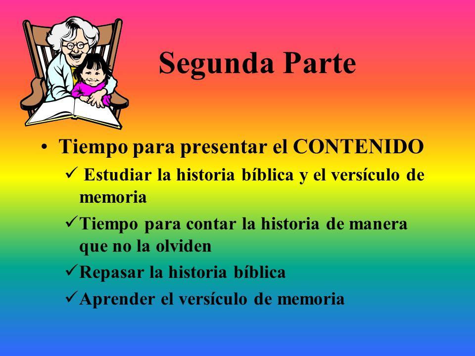 Segunda Parte Tiempo para presentar el CONTENIDO Estudiar la historia bíblica y el versículo de memoria Tiempo para contar la historia de manera que n