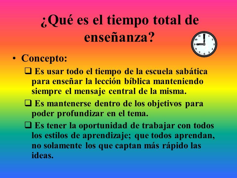 ¿Qué es el tiempo total de enseñanza? Concepto: Es usar todo el tiempo de la escuela sabática para enseñar la lección bíblica manteniendo siempre el m