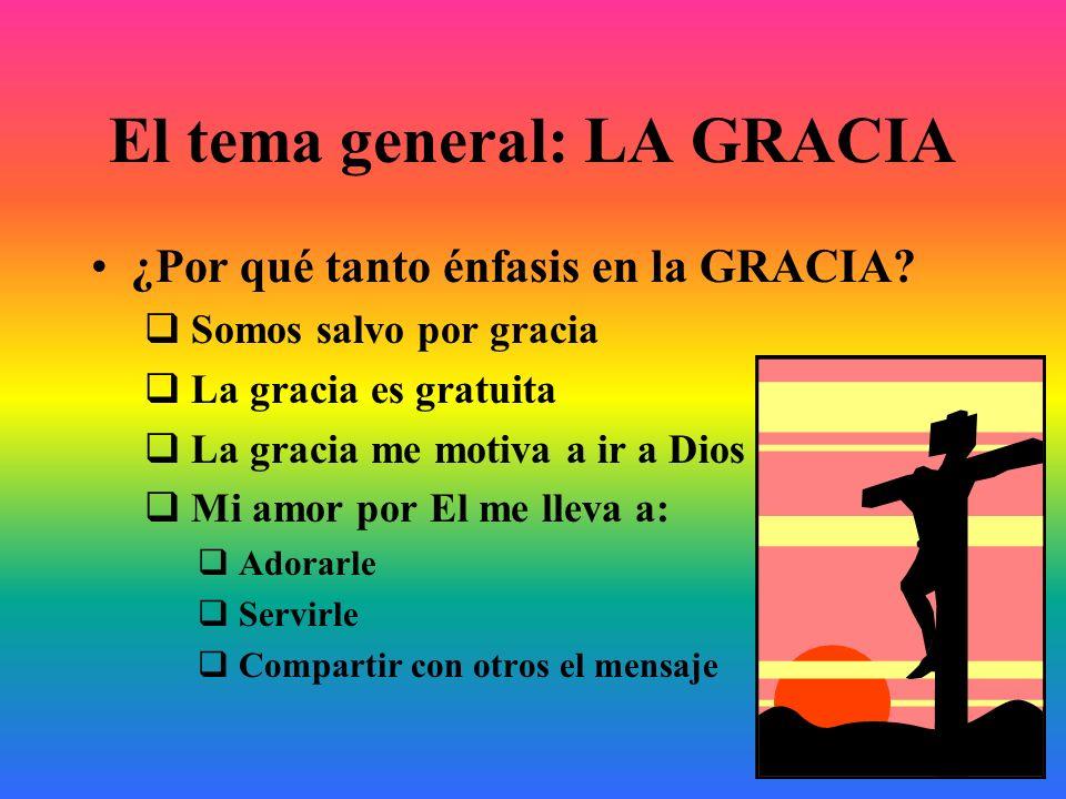 El tema general: LA GRACIA ¿Por qué tanto énfasis en la GRACIA? Somos salvo por gracia La gracia es gratuita La gracia me motiva a ir a Dios Mi amor p