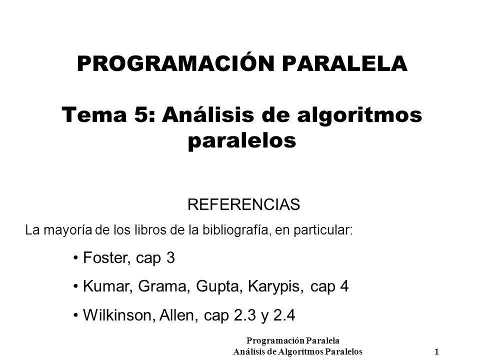 Programación Paralela Análisis de Algoritmos Paralelos 1 PROGRAMACIÓN PARALELA Tema 5: Análisis de algoritmos paralelos REFERENCIAS La mayoría de los