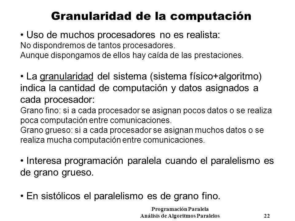 Programación Paralela Análisis de Algoritmos Paralelos 22 Granularidad de la computación Uso de muchos procesadores no es realista: No dispondremos de