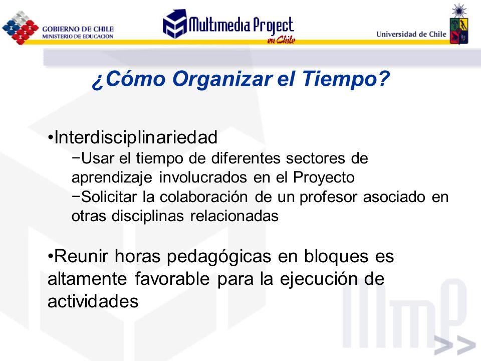 ¿Cómo Organizar el Tiempo? Interdisciplinariedad Usar el tiempo de diferentes sectores de aprendizaje involucrados en el Proyecto Solicitar la colabor