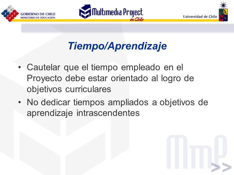 Tiempo/Aprendizaje Cautelar que el tiempo empleado en el Proyecto debe estar orientado al logro de objetivos curriculares No dedicar tiempos ampliados