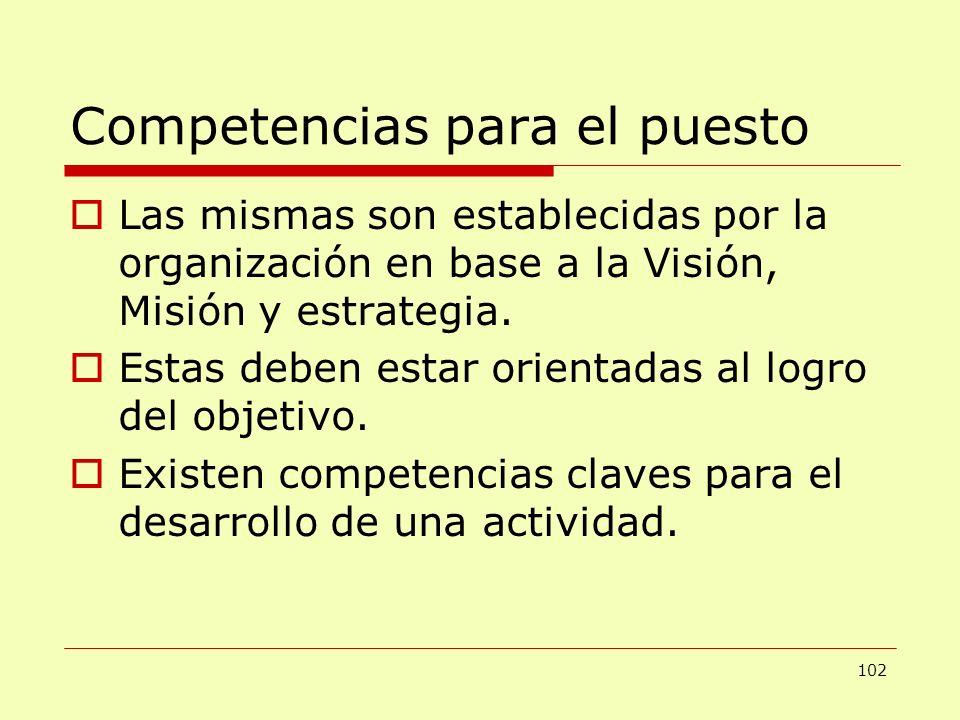 Competencias para el puesto Las mismas son establecidas por la organización en base a la Visión, Misión y estrategia. Estas deben estar orientadas al