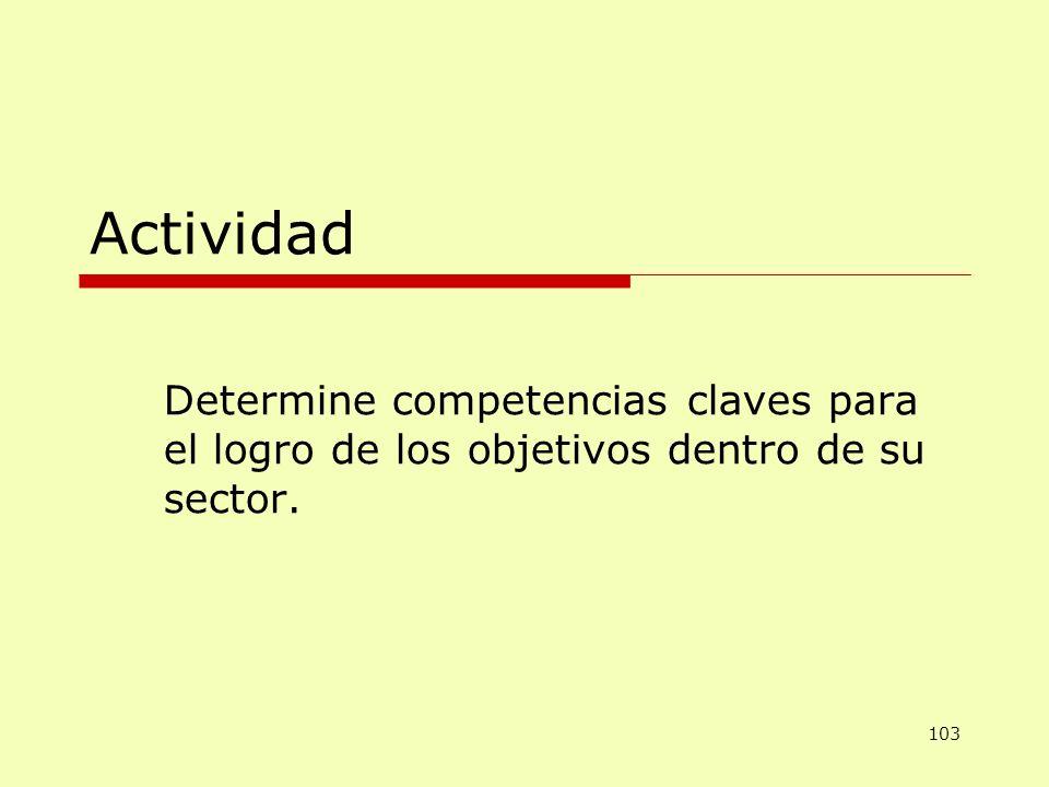 Actividad Determine competencias claves para el logro de los objetivos dentro de su sector. 103