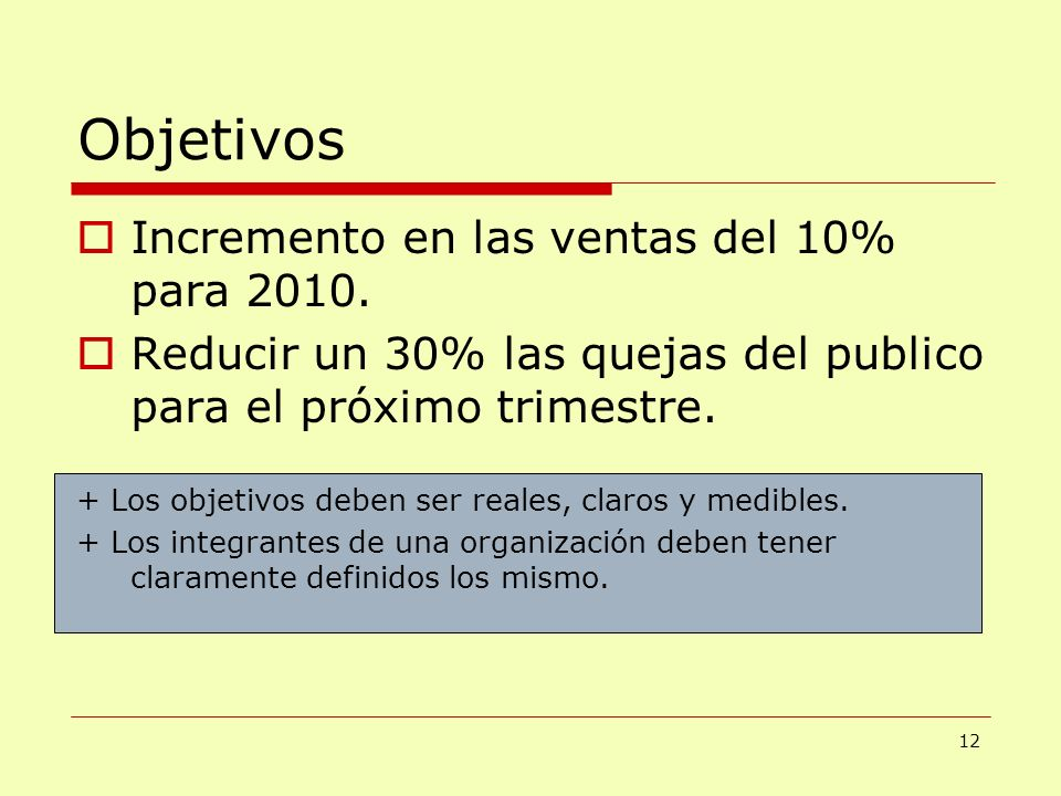 Objetivos Incremento en las ventas del 10% para 2010. Reducir un 30% las quejas del publico para el próximo trimestre. + Los objetivos deben ser reale