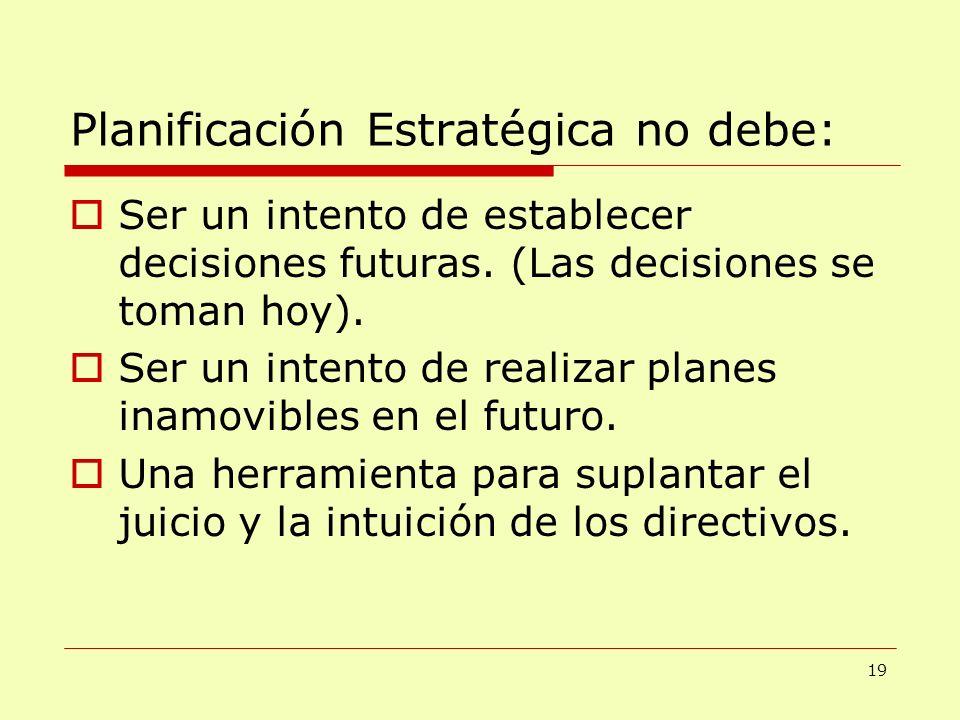 Planificación Estratégica no debe: Ser un intento de establecer decisiones futuras. (Las decisiones se toman hoy). Ser un intento de realizar planes i
