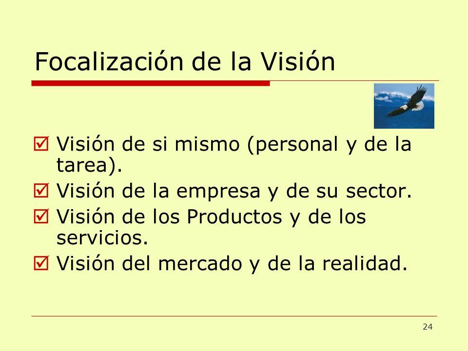 Focalización de la Visión Visión de si mismo (personal y de la tarea). Visión de la empresa y de su sector. Visión de los Productos y de los servicios
