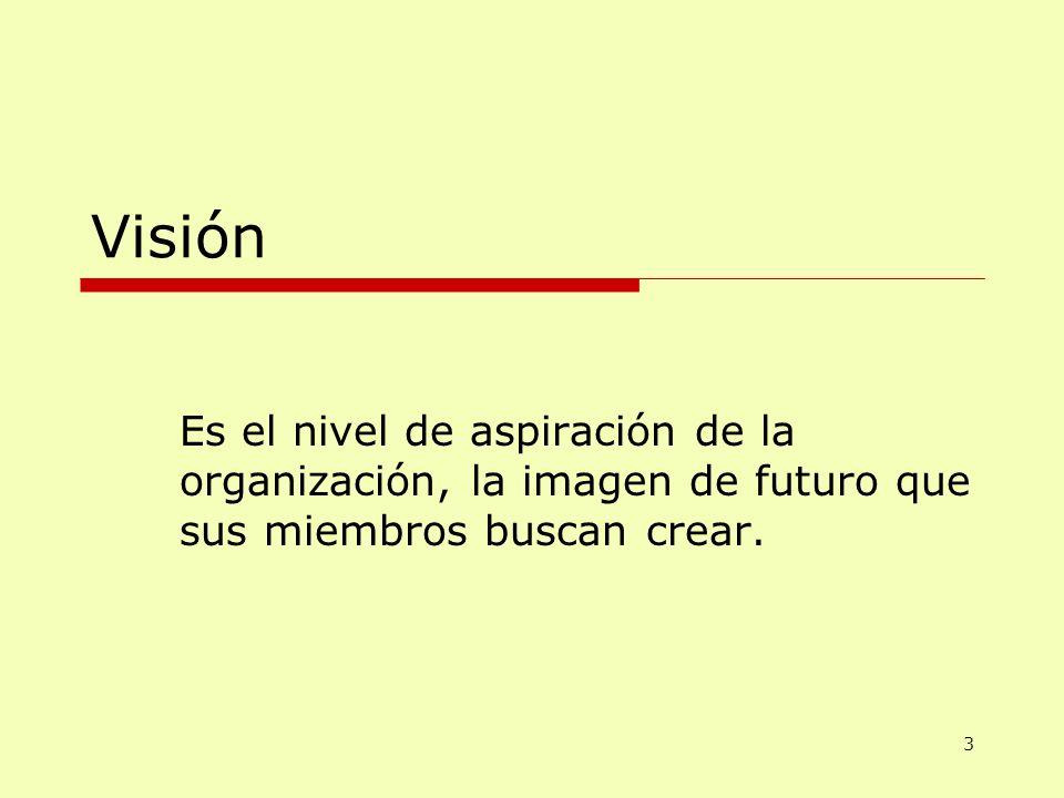 Visión Es el nivel de aspiración de la organización, la imagen de futuro que sus miembros buscan crear. 3