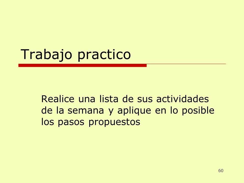 Trabajo practico Realice una lista de sus actividades de la semana y aplique en lo posible los pasos propuestos 60