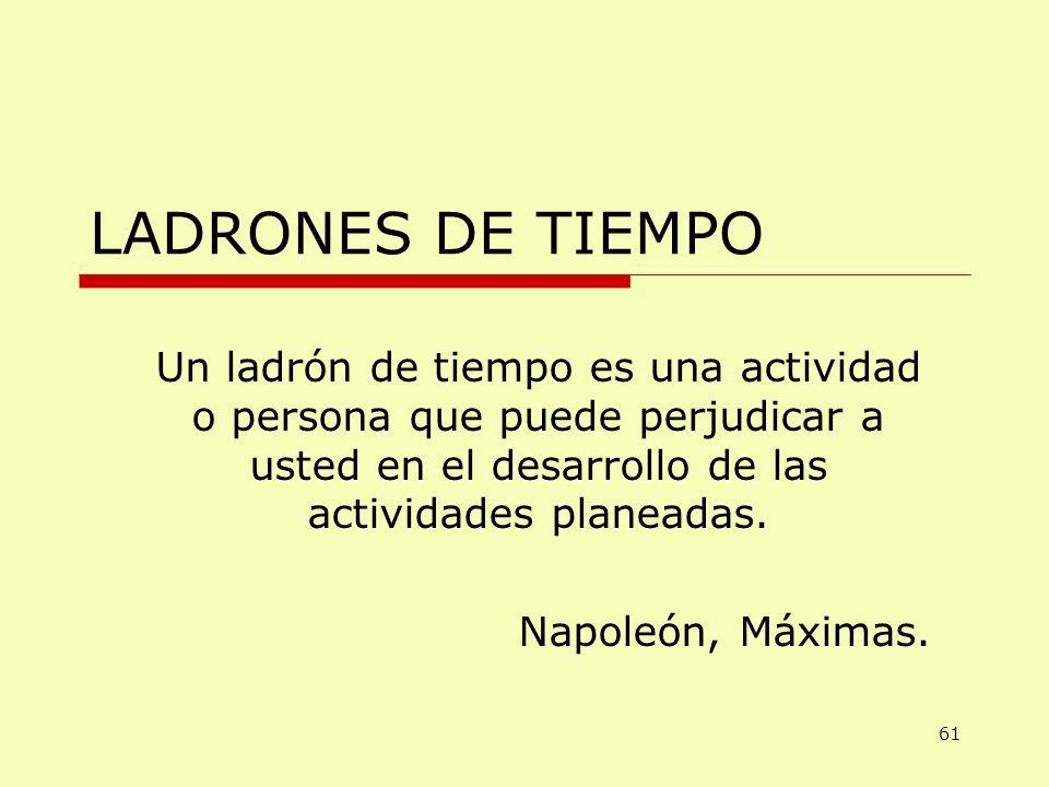LADRONES DE TIEMPO Un ladrón de tiempo es una actividad o persona que puede perjudicar a usted en el desarrollo de las actividades planeadas. Napoleón