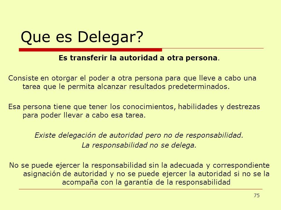 Que es Delegar? 75 Es transferir la autoridad a otra persona. Consiste en otorgar el poder a otra persona para que lleve a cabo una tarea que le permi