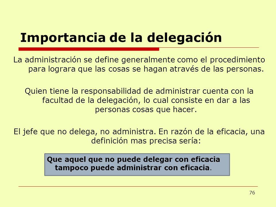 Importancia de la delegación 76 La administración se define generalmente como el procedimiento para lograra que las cosas se hagan através de las pers