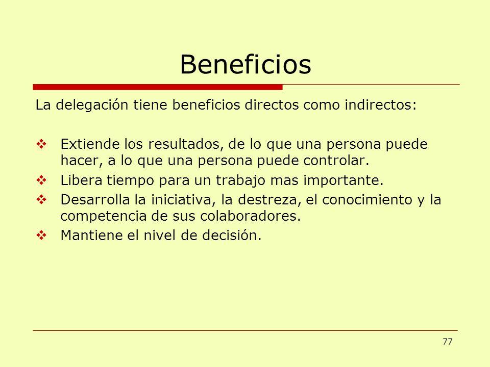 Beneficios La delegación tiene beneficios directos como indirectos: Extiende los resultados, de lo que una persona puede hacer, a lo que una persona p