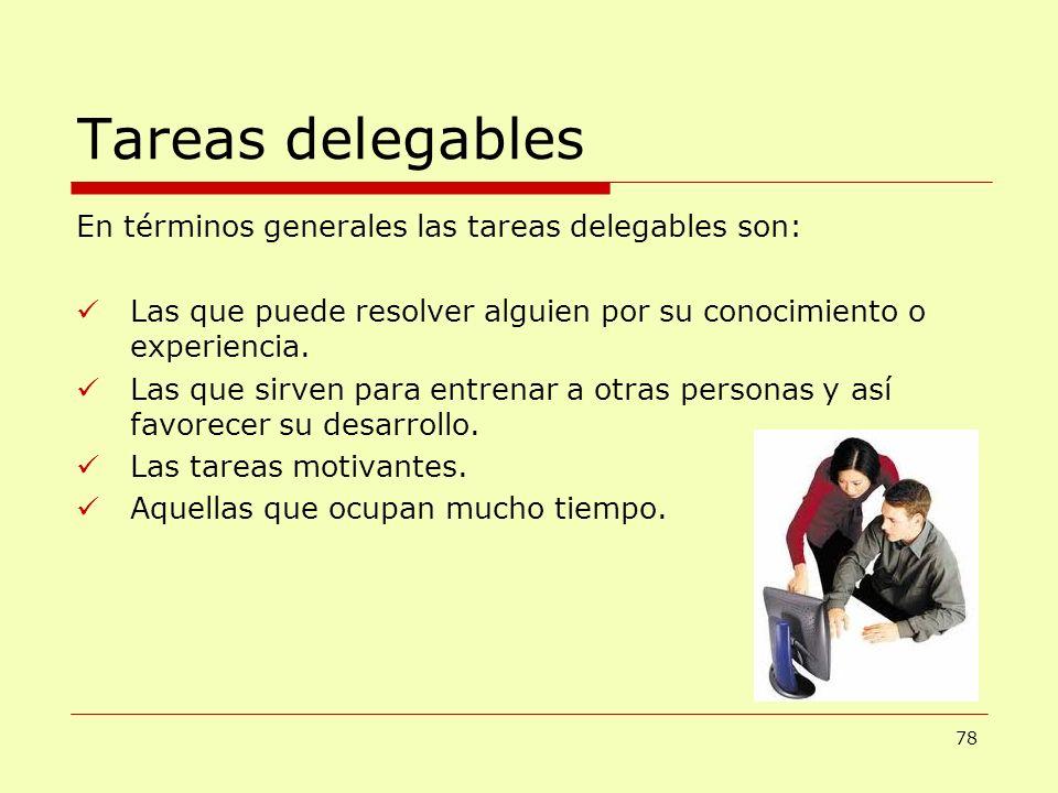 Tareas delegables En términos generales las tareas delegables son: Las que puede resolver alguien por su conocimiento o experiencia. Las que sirven pa