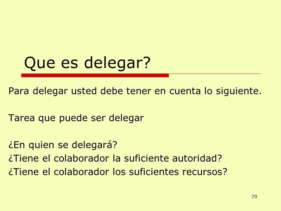 Que es delegar? Para delegar usted debe tener en cuenta lo siguiente. Tarea que puede ser delegar ¿En quien se delegará? ¿Tiene el colaborador la sufi