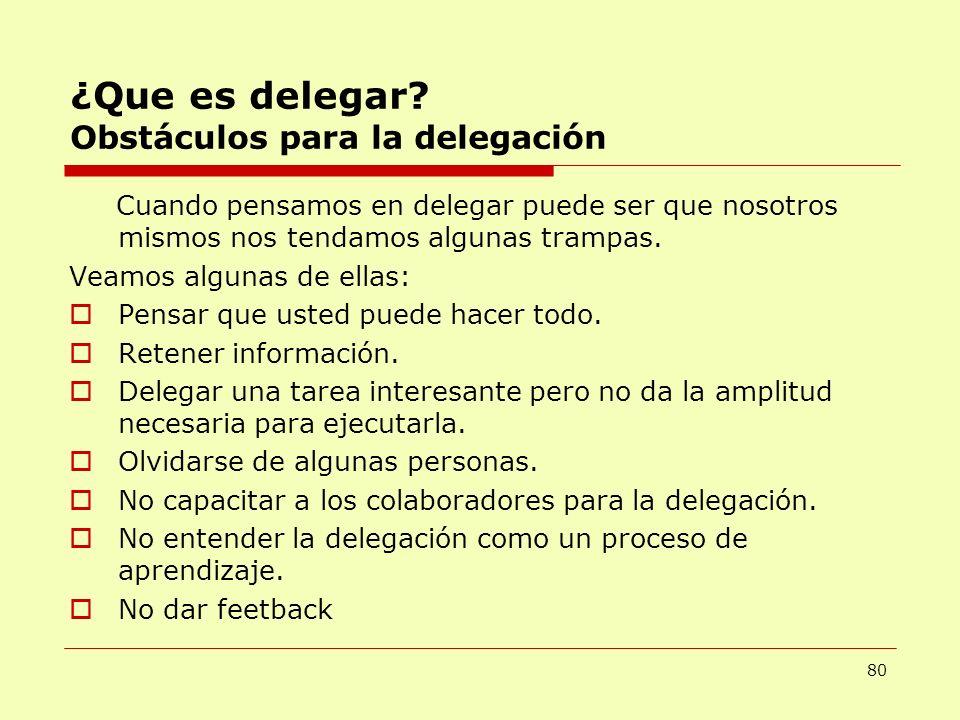 ¿Que es delegar? Obstáculos para la delegación Cuando pensamos en delegar puede ser que nosotros mismos nos tendamos algunas trampas. Veamos algunas d