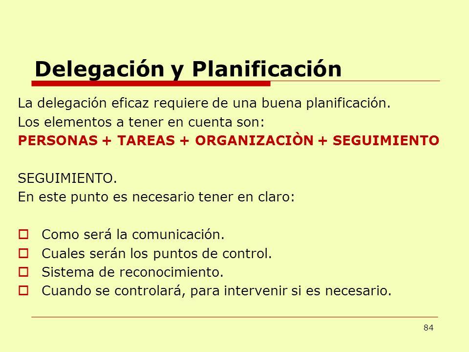 84 Delegación y Planificación La delegación eficaz requiere de una buena planificación. Los elementos a tener en cuenta son: PERSONAS + TAREAS + ORGAN