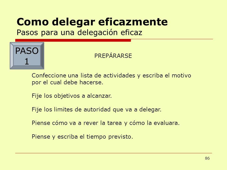 Como delegar eficazmente Pasos para una delegación eficaz 86 PREPÁRARSE Confeccione una lista de actividades y escriba el motivo por el cual debe hace