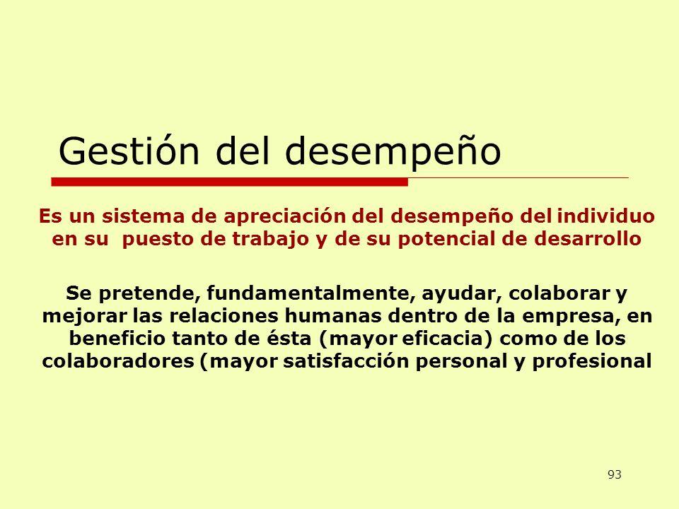 Gestión del desempeño Es un sistema de apreciación del desempeño del individuo en su puesto de trabajo y de su potencial de desarrollo Se pretende, fu