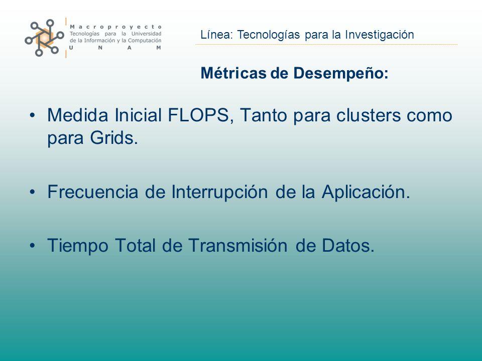Línea: Tecnologías para la Investigación Métricas de Desempeño: Medida Inicial FLOPS, Tanto para clusters como para Grids. Frecuencia de Interrupción