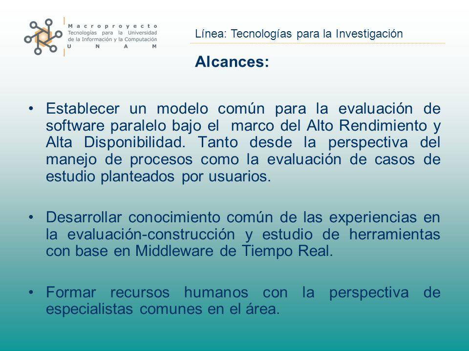 Línea: Tecnologías para la Investigación Métricas de Desempeño: Medida Inicial FLOPS, Tanto para clusters como para Grids.