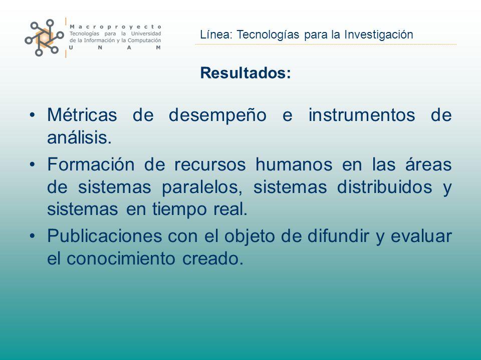 Línea: Tecnologías para la Investigación Resultados: Métricas de desempeño e instrumentos de análisis. Formación de recursos humanos en las áreas de s