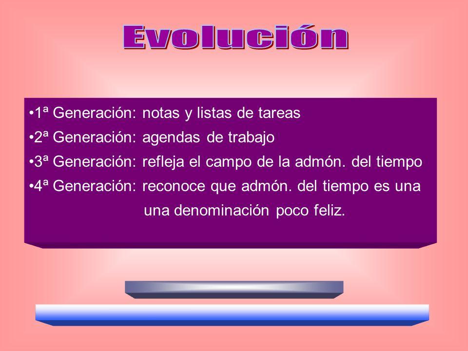 1ª Generación: notas y listas de tareas 2ª Generación: agendas de trabajo 3ª Generación: refleja el campo de la admón.