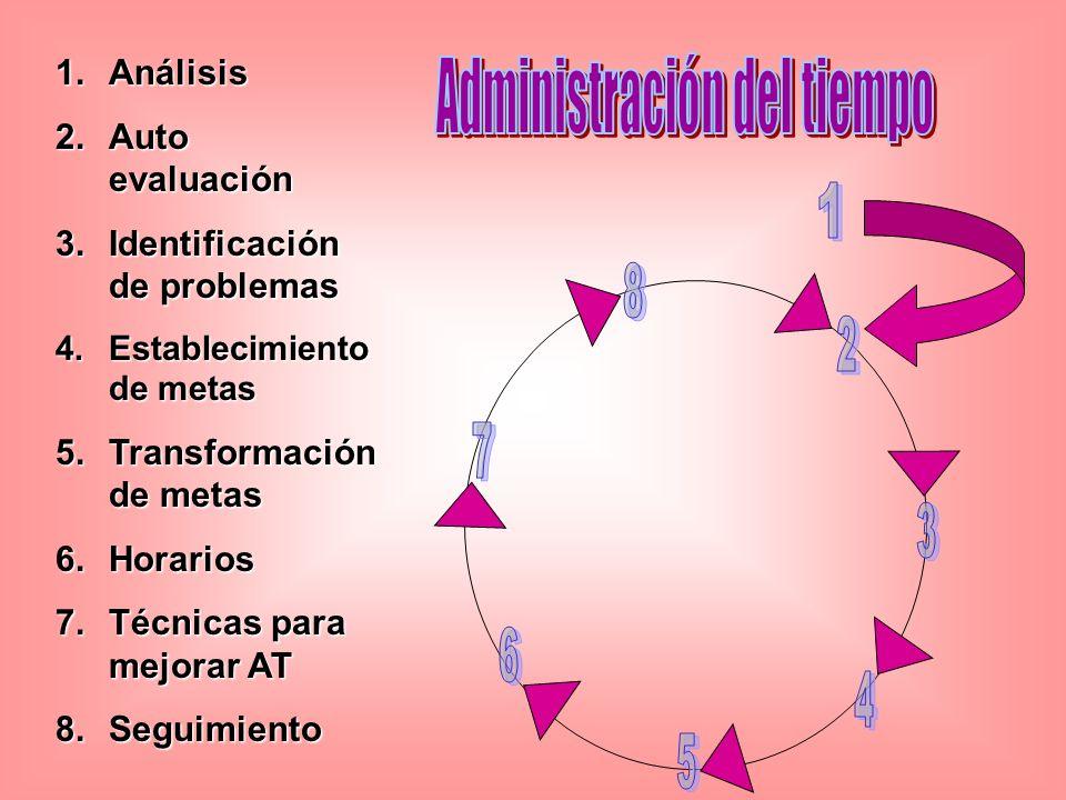 1.Análisis 2.Auto evaluación 3.Identificación de problemas 4.Establecimiento de metas 5.Transformación de metas 6.Horarios 7.Técnicas para mejorar AT 8.Seguimiento