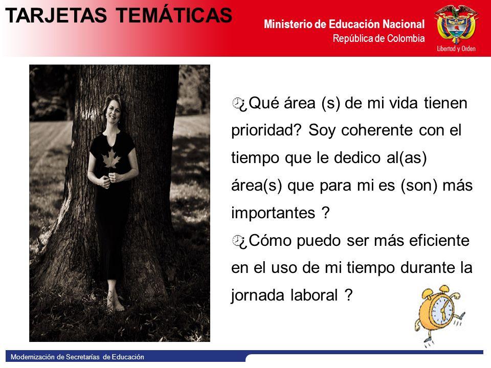 Modernización de Secretarías de Educación Ministerio de Educación Nacional República de Colombia ¿Qué área (s) de mi vida tienen prioridad.