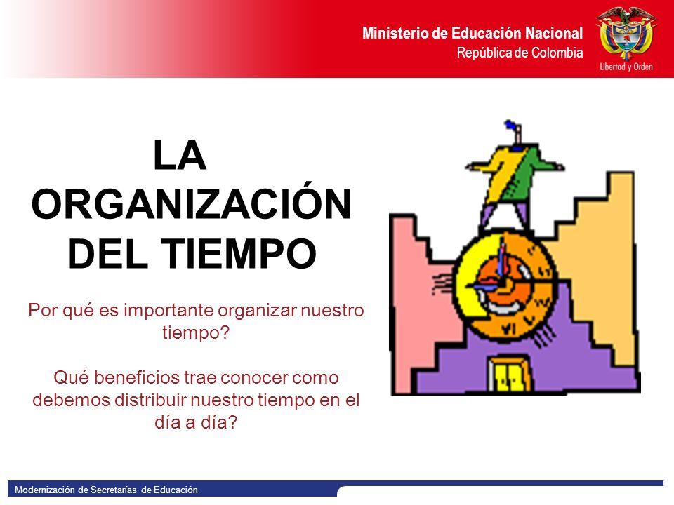 Modernización de Secretarías de Educación Ministerio de Educación Nacional República de Colombia LA ORGANIZACIÓN DEL TIEMPO Por qué es importante organizar nuestro tiempo.
