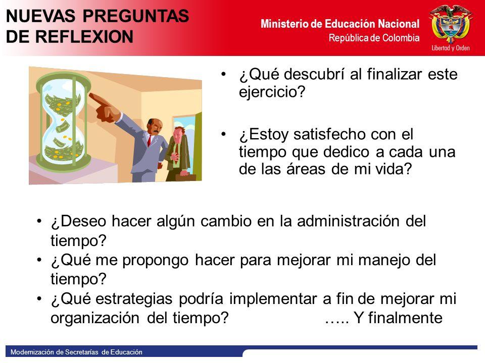 Modernización de Secretarías de Educación Ministerio de Educación Nacional República de Colombia ¿Qué descubrí al finalizar este ejercicio.