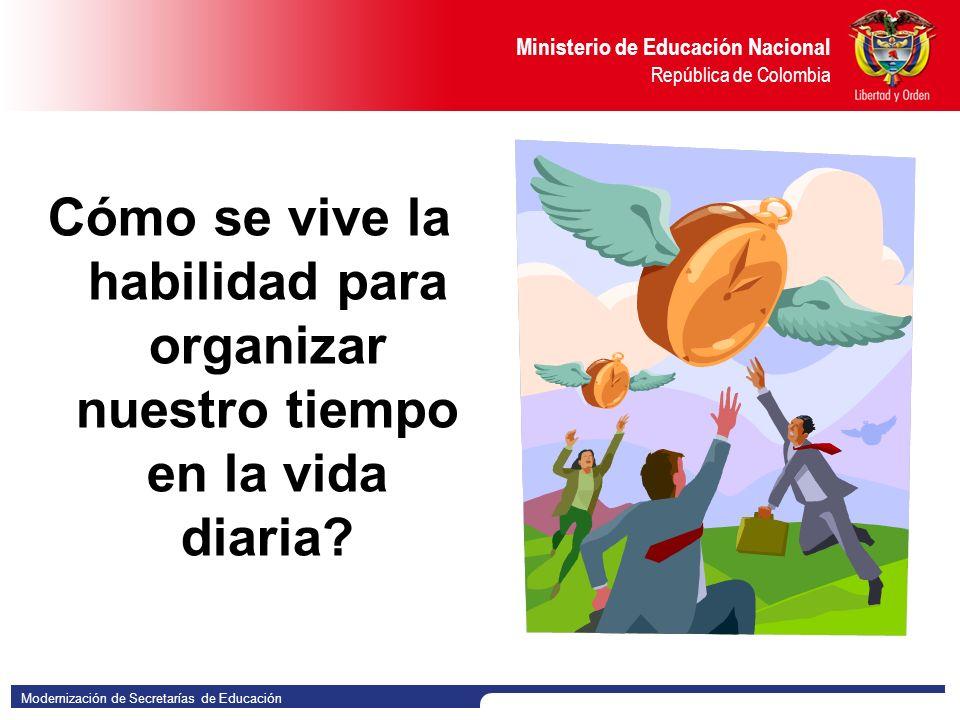 Modernización de Secretarías de Educación Ministerio de Educación Nacional República de Colombia Cómo se vive la habilidad para organizar nuestro tiempo en la vida diaria?