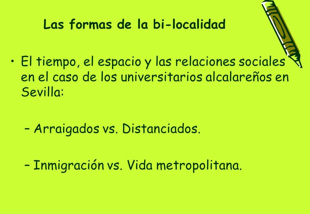 Las formas de la bi-localidad El tiempo, el espacio y las relaciones sociales en el caso de los universitarios alcalareños en Sevilla: –Arraigados vs.