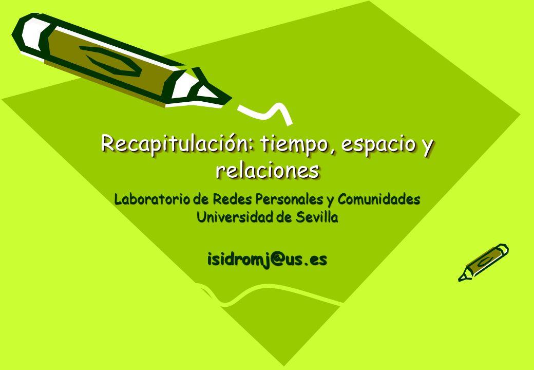 Recapitulación: tiempo, espacio y relaciones Laboratorio de Redes Personales y Comunidades Universidad de Sevilla isidromj@us.es