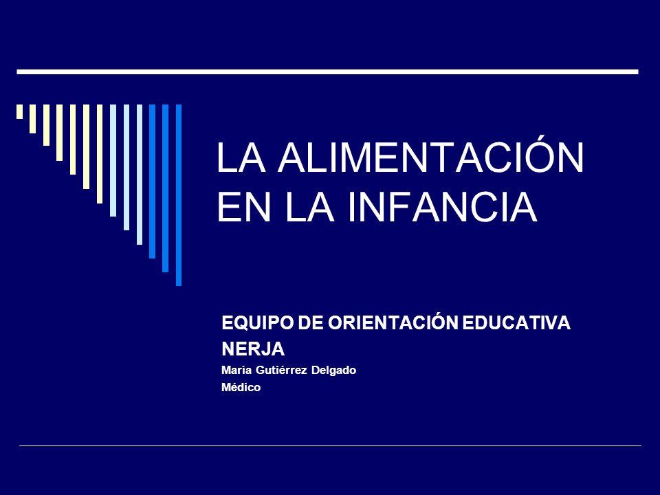 LA ALIMENTACIÓN EN LA INFANCIA EQUIPO DE ORIENTACIÓN EDUCATIVA NERJA María Gutiérrez Delgado Médico