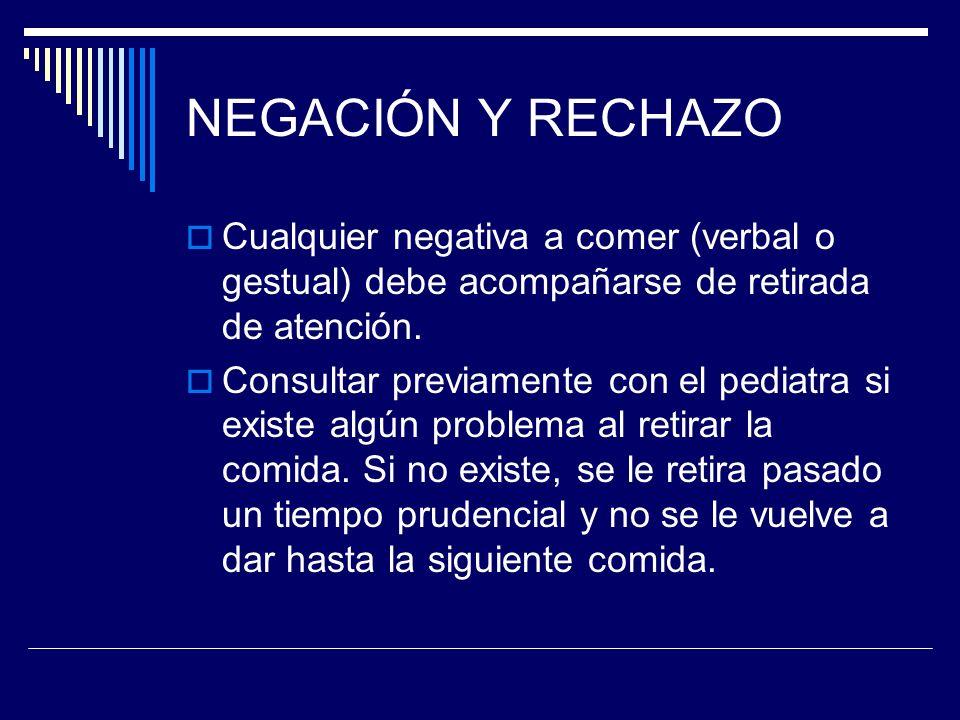 NEGACIÓN Y RECHAZO Cualquier negativa a comer (verbal o gestual) debe acompañarse de retirada de atención.
