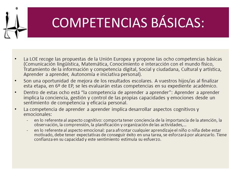 ORIENTACIONES: ¿Cómo podéis favorecer esta competencia en el contexto familiar con las tareas y el estudio.