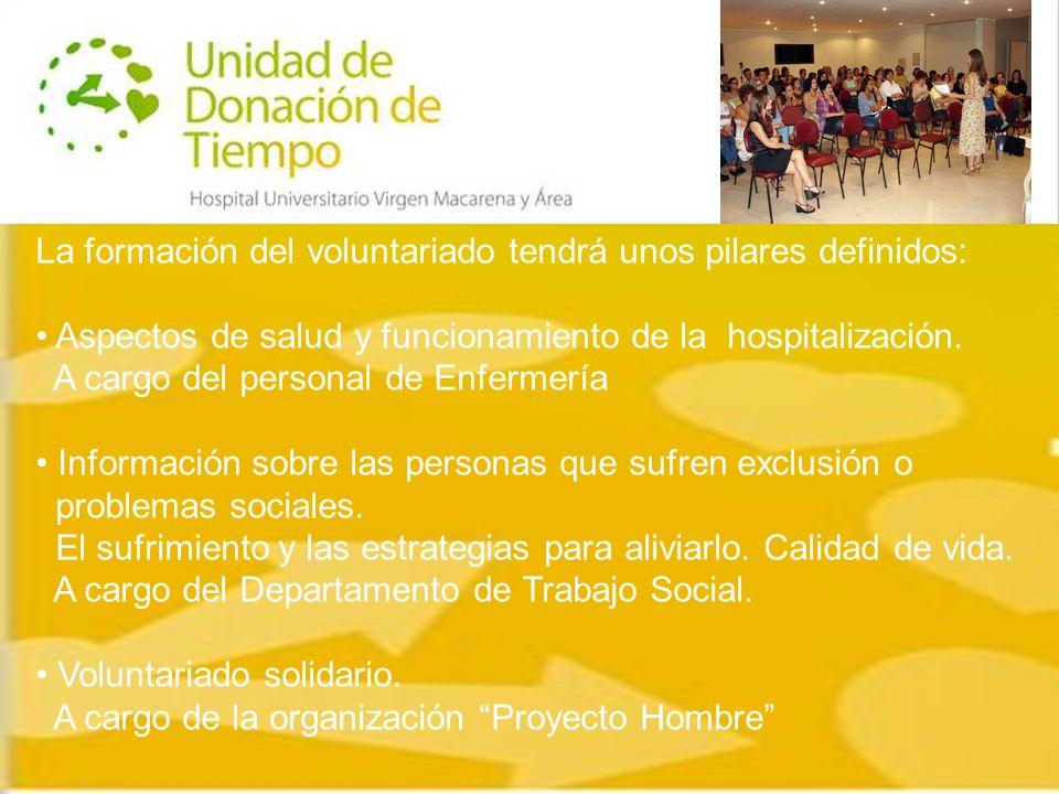 La formación del voluntariado tendrá unos pilares definidos: Aspectos de salud y funcionamiento de la hospitalización.