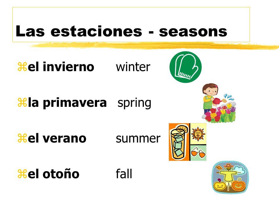 zuna estación= a season zlas estaciones= seasons zla temperatura= temperature zel pronóstico del tiempo = weather forecast zel informe del tiempo = we
