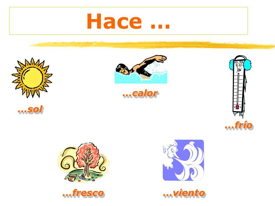 ¿Qué tiempo hace? Hace+ buen / mal tiempo sol calor frío fresco Viento (muy) (mucho)