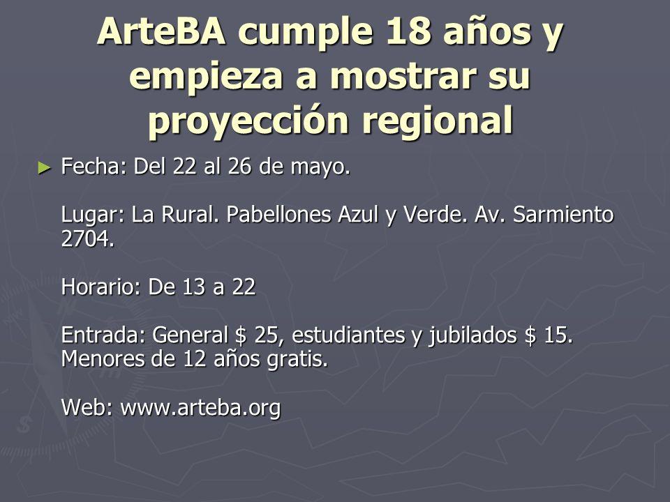 ArteBA cumple 18 años y empieza a mostrar su proyección regional Fecha: Del 22 al 26 de mayo.