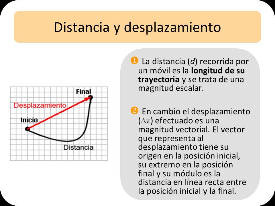 Distancia y desplazamiento La distancia (d) recorrida por un móvil es la longitud de su trayectoria y se trata de una magnitud escalar. En cambio el d