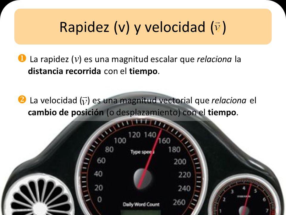 Rapidez (v) y velocidad (v) La rapidez ( v ) es una magnitud escalar que relaciona la distancia recorrida con el tiempo.