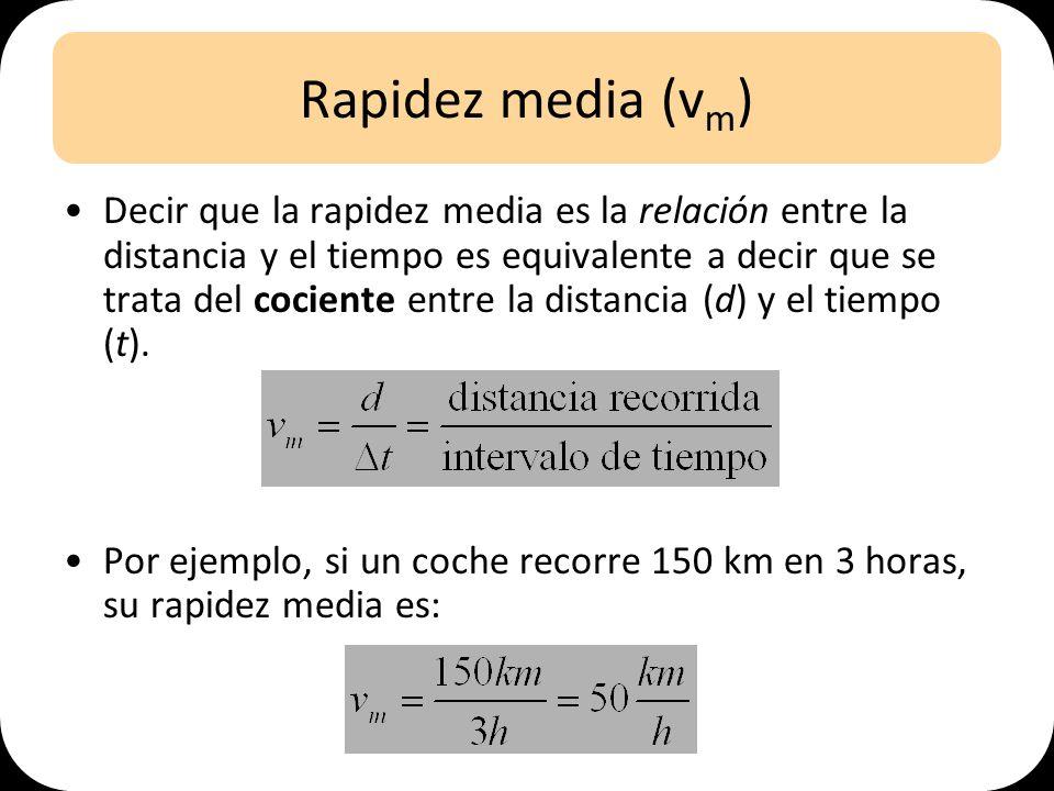 Rapidez media (v m ) Decir que la rapidez media es la relación entre la distancia y el tiempo es equivalente a decir que se trata del cociente entre la distancia (d) y el tiempo (t).