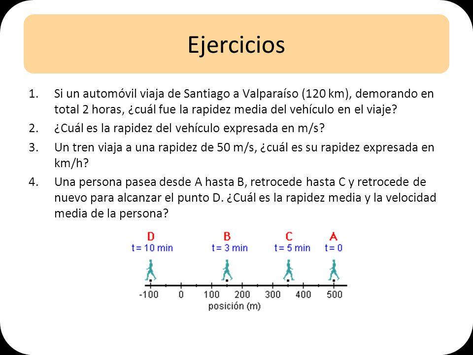 Ejercicios 1.Si un automóvil viaja de Santiago a Valparaíso (120 km), demorando en total 2 horas, ¿cuál fue la rapidez media del vehículo en el viaje?